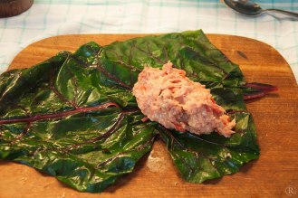 die Hühnchenfleisch-Gemüsefüllung